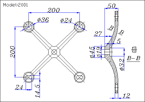 4-point spider fitting for glazed curtain walls