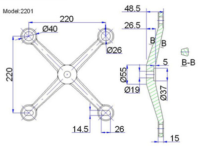 4 point spider fittings for glass curtain walling